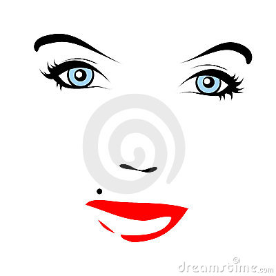 Red lips. Vector face