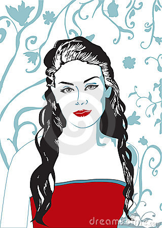 Red lips vector woman