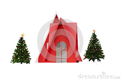 Red little house and Christmas trees