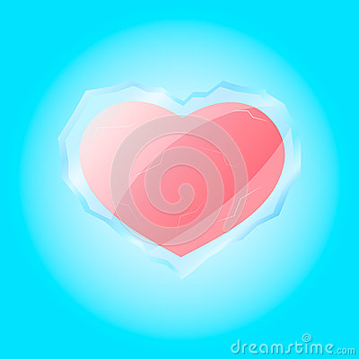 Red live heart in frozen shell Stock Photo