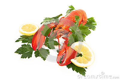 Red lobster with lemon and parsley