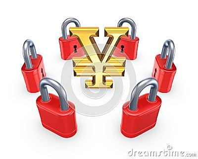 Red locks around symbol of yen.