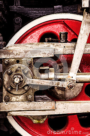 Free Red Locomotive Wheel Close-up Stock Images - 35071654