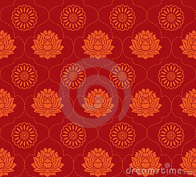 Free Red Lotus Seamless Background Stock Images - 12405684