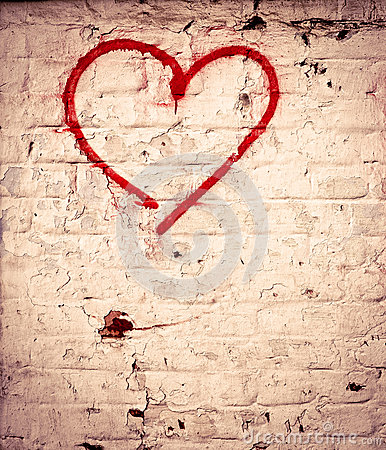 Free Red Love Heart Hand Drawn On Brick Wall Grunge Textured Background Stock Image - 35948201