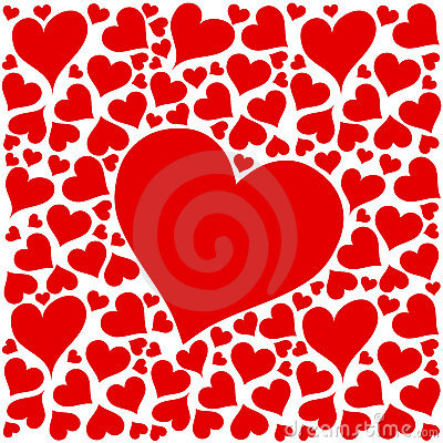 Red love hearts design on white background