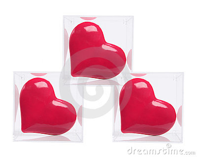 Red Love Hearts in Plastic Boxes