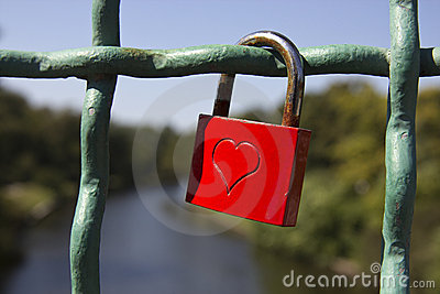 Red love lock