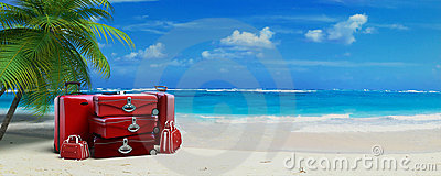 Red luggage in tropical beach
