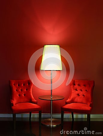 Free Red Luxury Chairs With Table And Lamp Royalty Free Stock Photo - 31697725