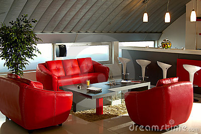 Red luxury office room