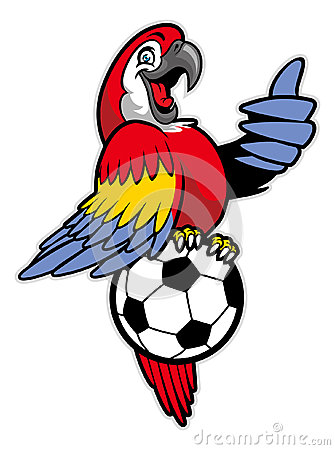 Free Red Macaw Bird Stand Over The Soccer Ball Stock Image - 45363291