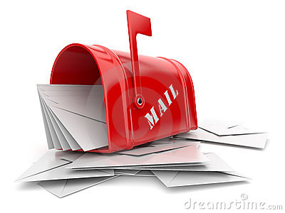 Red mail box with heap of letters. 3D