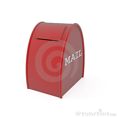 Red mail box isolated on white