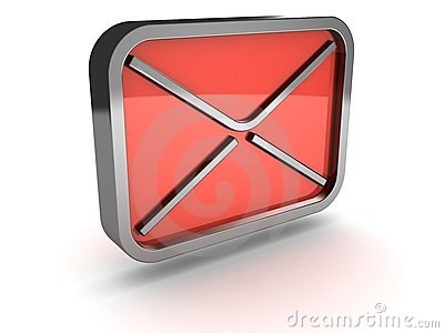 Red mail envelope metal icon on white background