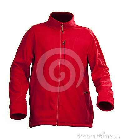 Red male fleece jacket isolated over white