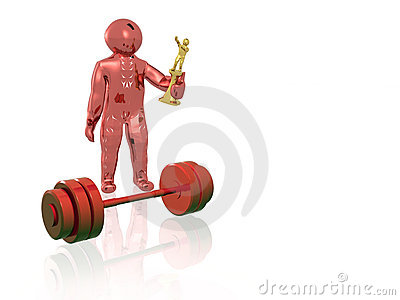 Red man with weight