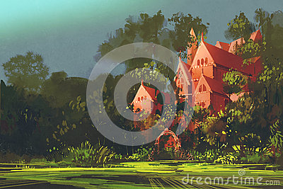 Red mansion in the woods Cartoon Illustration