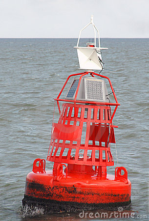 Red Marker Bouy at Sea