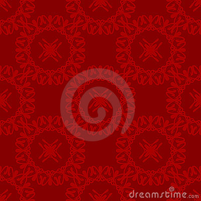 Red and Maroon Circular Damask Seamless Pattern