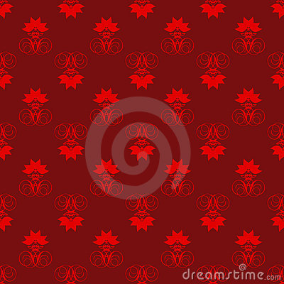 Red and Maroon Damask Seamless Pattern