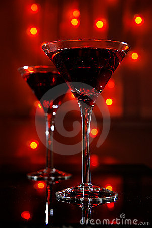 Red martini glass