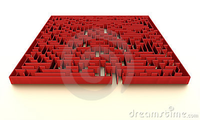 Red maze with subtle illumination