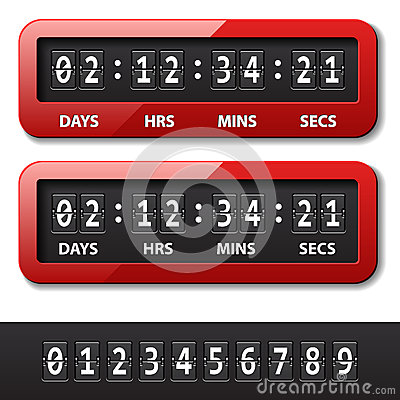 Red mechanical counter - countdown timer