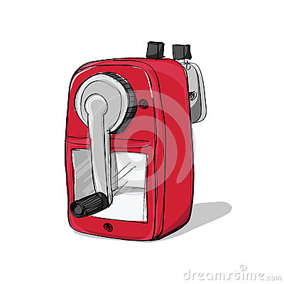 Free Red Mechanical Sharpener Of Pencil Hand Drawn Isolated On White Stock Photography - 54147662
