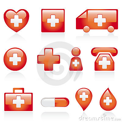 Red medical icon set