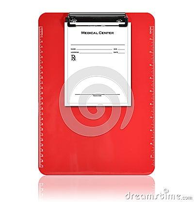 Red Medical Prescription Clipboard