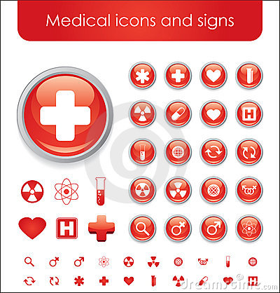 Red medical themed icons