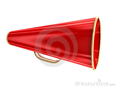 Red megaphone isolated over white