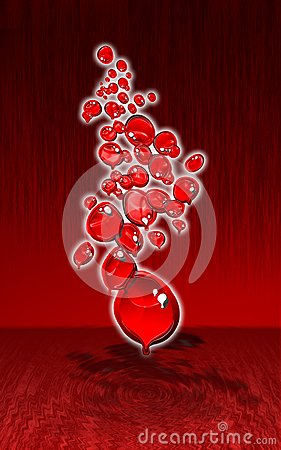 Red melting bubbles design