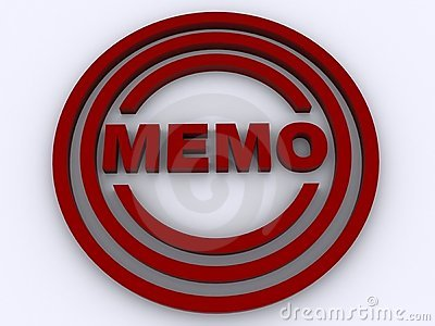 Red memo in circles graphic