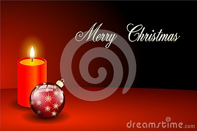 Red merry christmas card candlelight Stock Photo