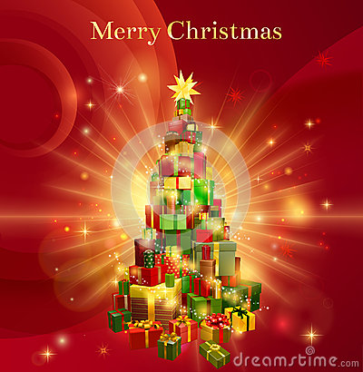 Free Red Merry Christmas Gift Tree Design Stock Images - 27490444