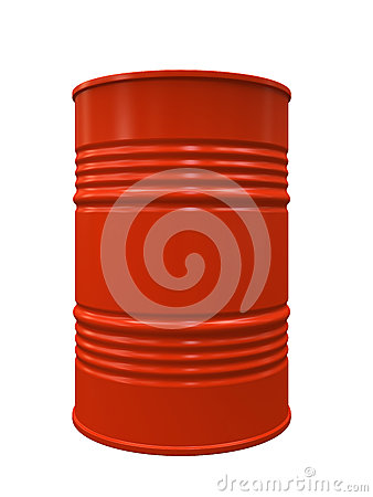 Red Metal barrel isolated