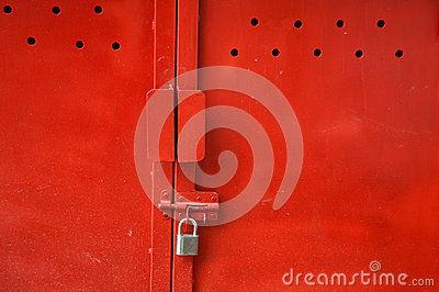 Red metal door