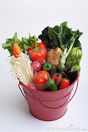 Red Metal Pail of Vegetables