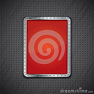 Free Red Metal Panel On Dark Metallic Background Stock Photography - 37994292