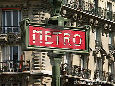 Red metro sign Editorial Stock Image