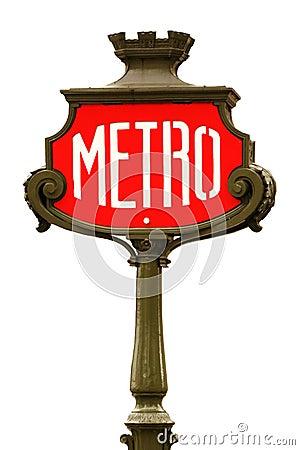 Free Red Metro Sign In Paris Stock Photos - 4135783