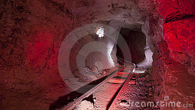 Red Mine Tracks Underground