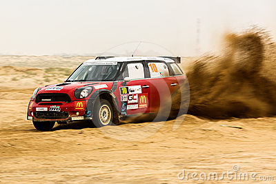 Red Mini Cooper - Kuwait International Rally Editorial Photography