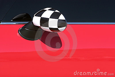 Red Mini Cooper sideview mirror