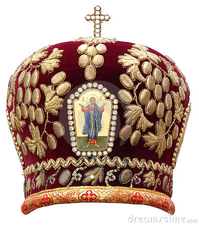 Red mitre - solemn headgear of the orthodox bisho