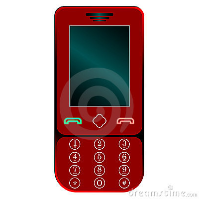 Red mobile phone against white