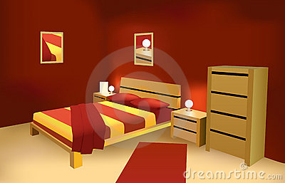 Red modern bedroom vector