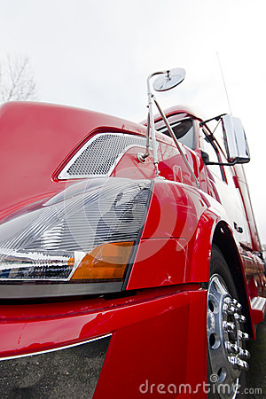 Free Red Modern Semi Truck Close View On Light Background Stock Photography - 40306982